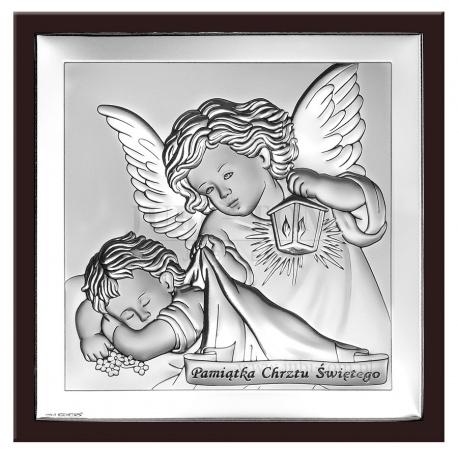 Obrazek srebrny na pamiątkę Chrztu Świetego/Anioł Stróż