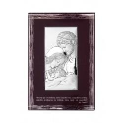 Obrazek srebrny Świeta Rodzina na brązowym drewnie