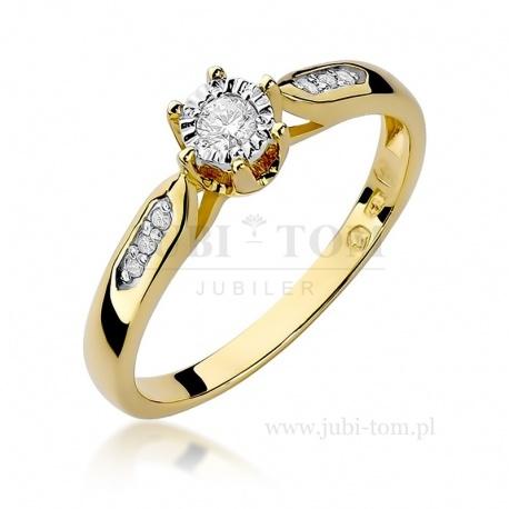 Pierścionek z białego złota z brylantami 0,11 ct