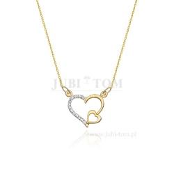 Złota celebrytka z zarysem dwóch serc z brylantami 0,03 ct pr 585