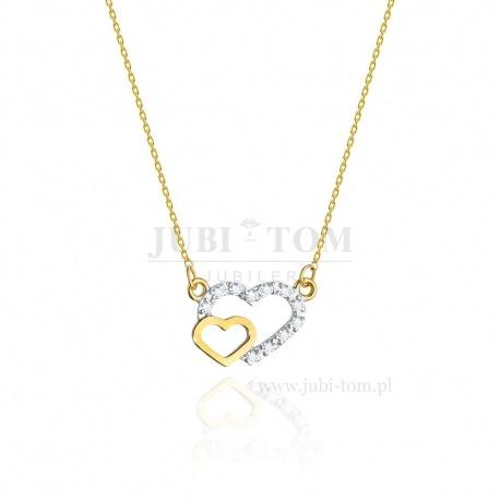 Złota celebrytka z zarysem dwóch serc z brylancikami 0,06 ct pr 585