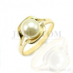 Pierścionek z żółtego złota z białą perłą syntetyczną p.585