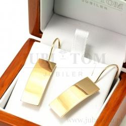 Złote kolczyki prostokąty na biglu p.585
