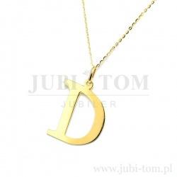 Złota zawieszka duża litera D p.585