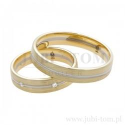 Obrączki ślubne białe złoto + żółte złoto z kamieniami