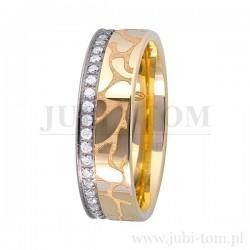 Obrączki ślubne białe złoto + żółte złoto- szachownica